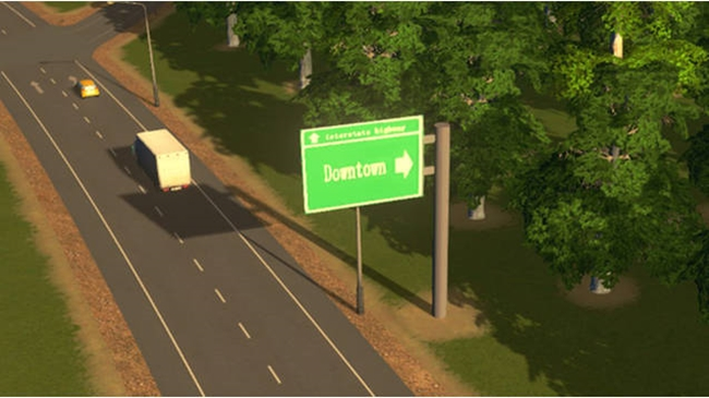 Photo of Cities: Skylines – Road sign for Downtown