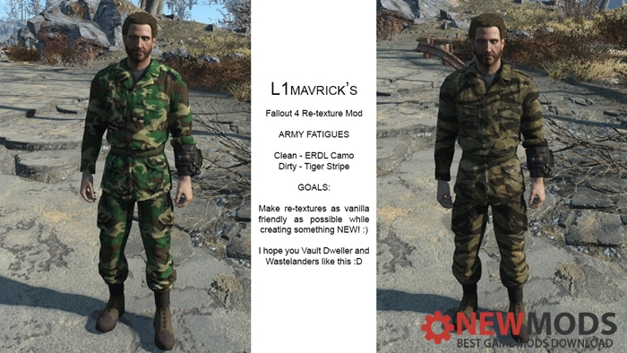 Photo of Fallout 4 – Army Fatigues Re-texture – L1Mavrick