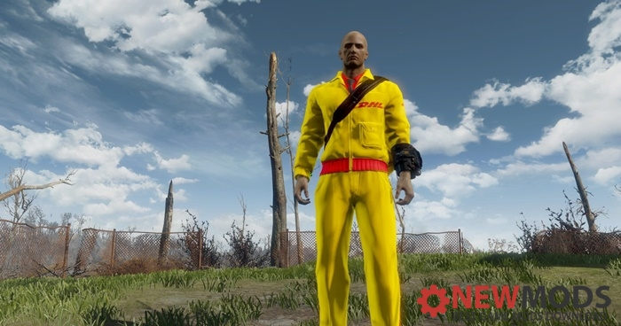 Photo of Fallout 4 – DHL Re-Texture Postman uniform (fun-mod)