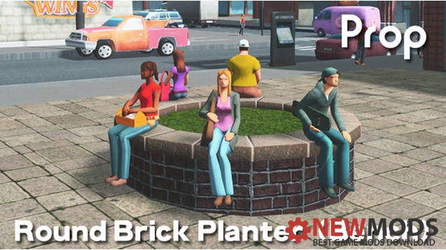 Photo of Cities Skylines – Round Brick Planter (Bench) prop