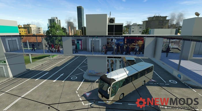 Photo of Transport Fever – Modern Bus- and Tramstation with Bus-Stops