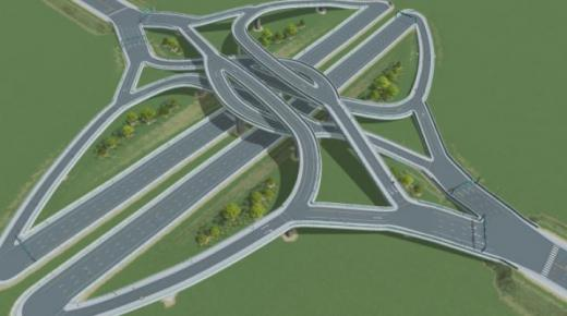 Photo of Cities: Skylines – Small DCMI or Double Crossover Merging Interchange