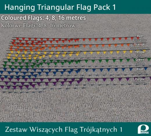 Photo of Cities: Skylines – Hanging Triangle Flags Pack 1 Colours