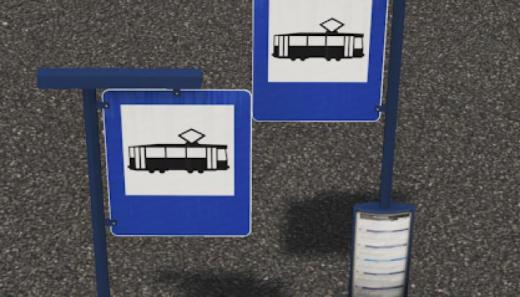 Photo of Cities: Skylines – Tram and Bus Stop Sign (Dependency)
