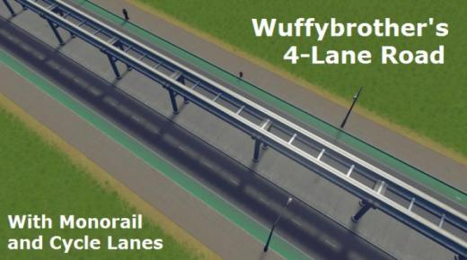 Photo of Cities: Skylines – 4 Lane Road with Monorail and Bicycle Lanes